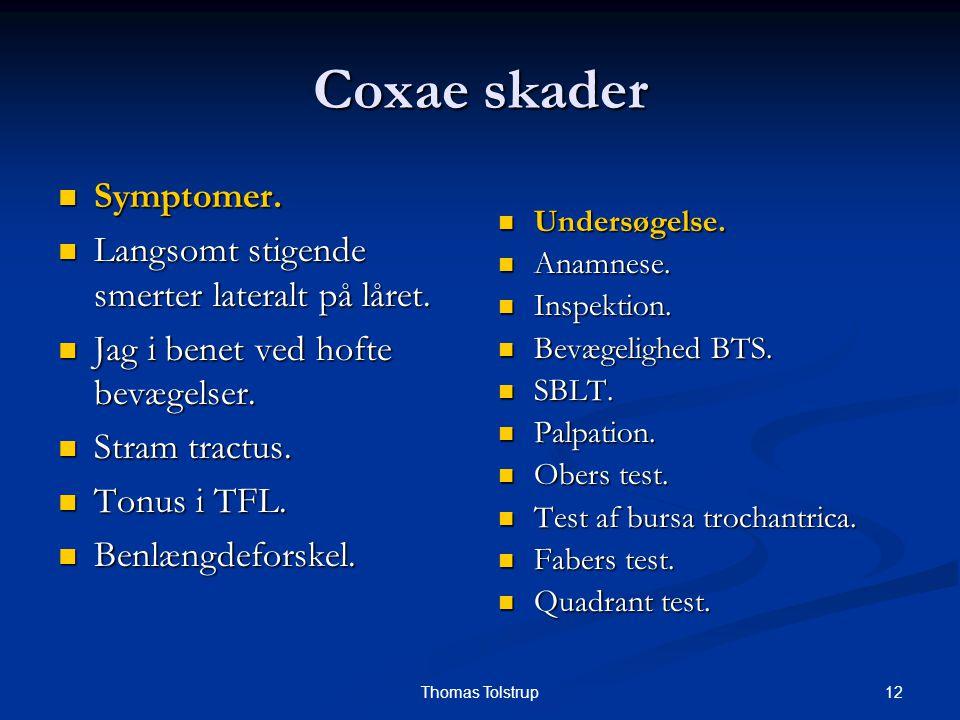 Coxae skader Symptomer. Langsomt stigende smerter lateralt på låret.