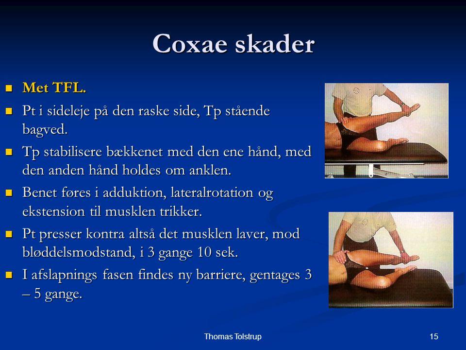 Coxae skader Met TFL. Pt i sideleje på den raske side, Tp stående bagved.