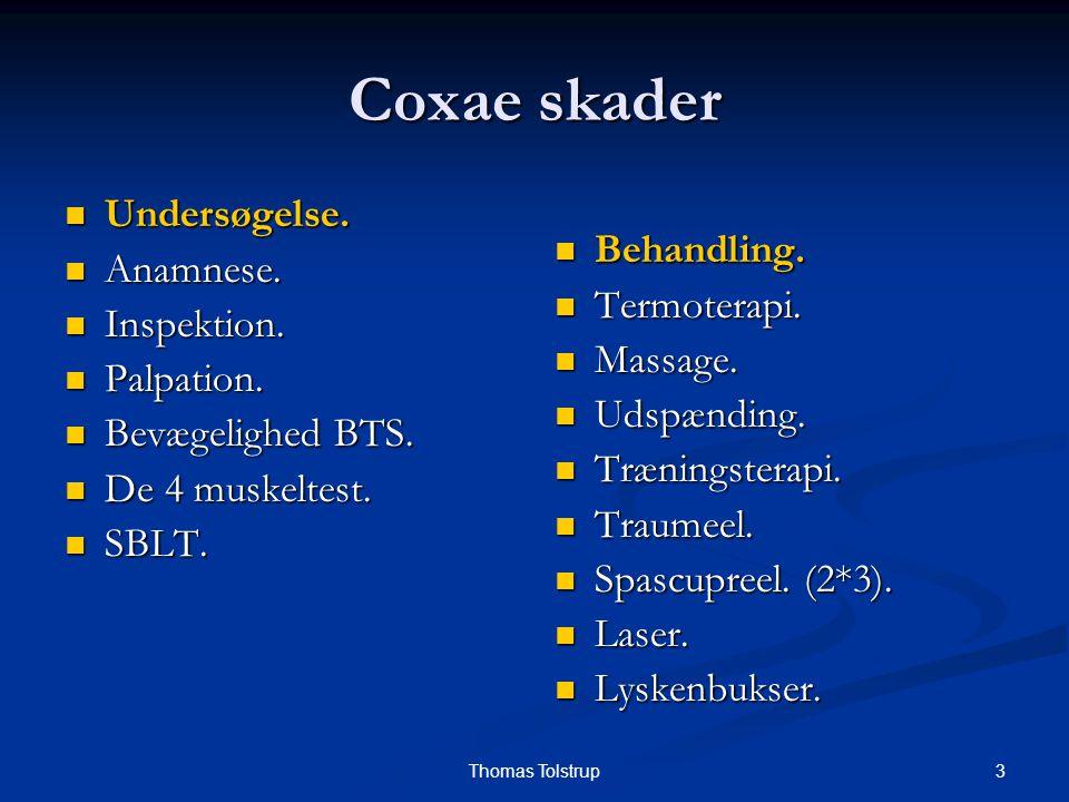 Coxae skader Undersøgelse. Anamnese. Behandling. Inspektion.