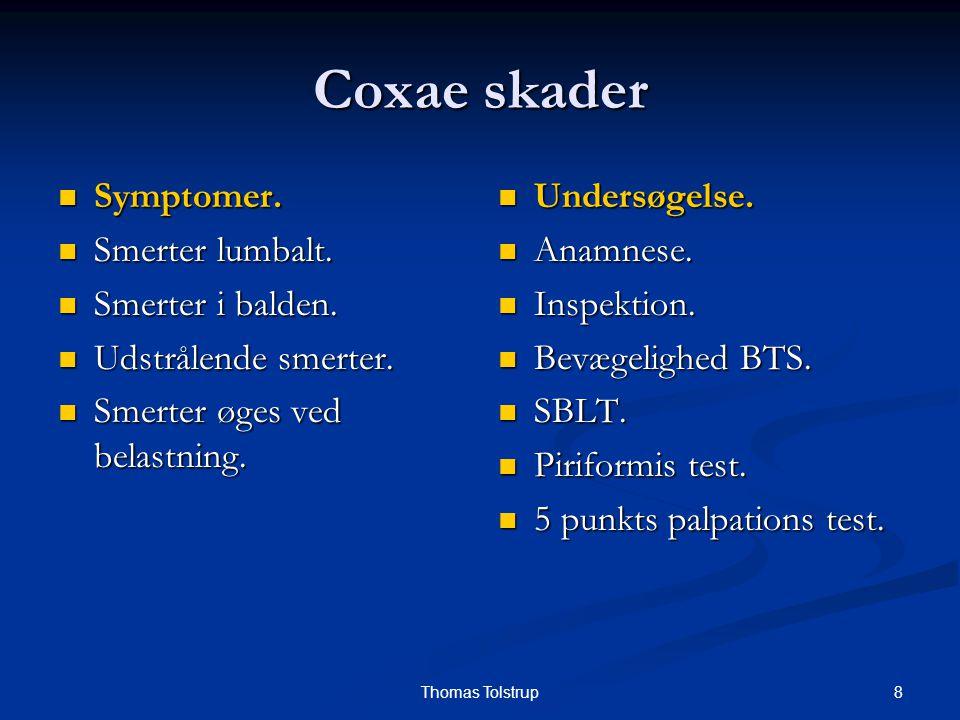 Coxae skader Symptomer. Smerter lumbalt. Smerter i balden.