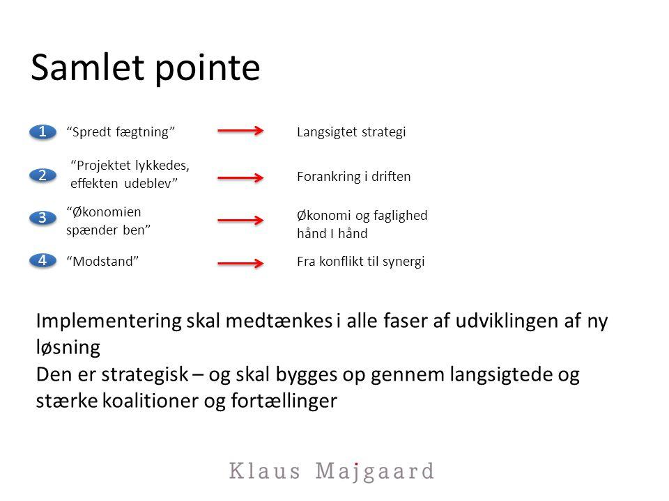 Samlet pointe Spredt fægtning Langsigtet strategi. Projektet lykkedes, effekten udeblev Forankring i driften.