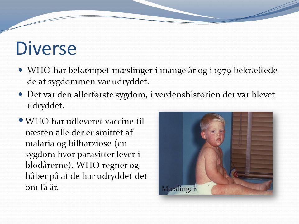 Diverse WHO har bekæmpet mæslinger i mange år og i 1979 bekræftede de at sygdommen var udryddet.