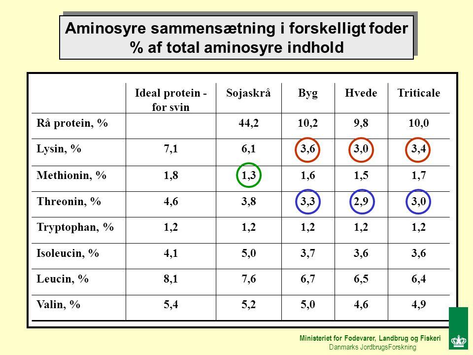 Aminosyre sammensætning i forskelligt foder