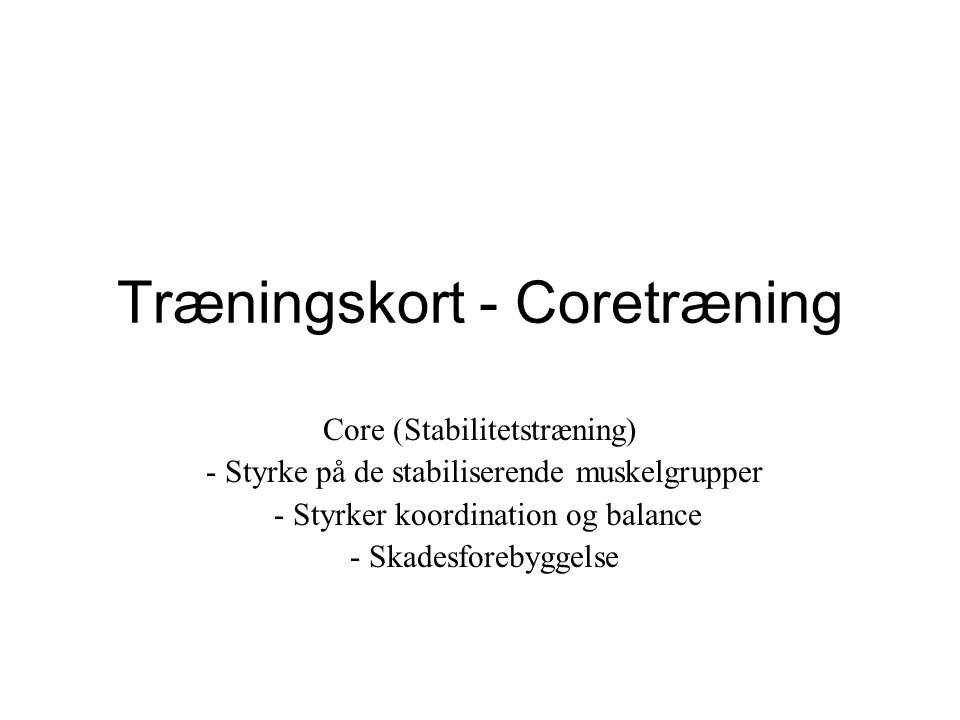 Træningskort - Coretræning