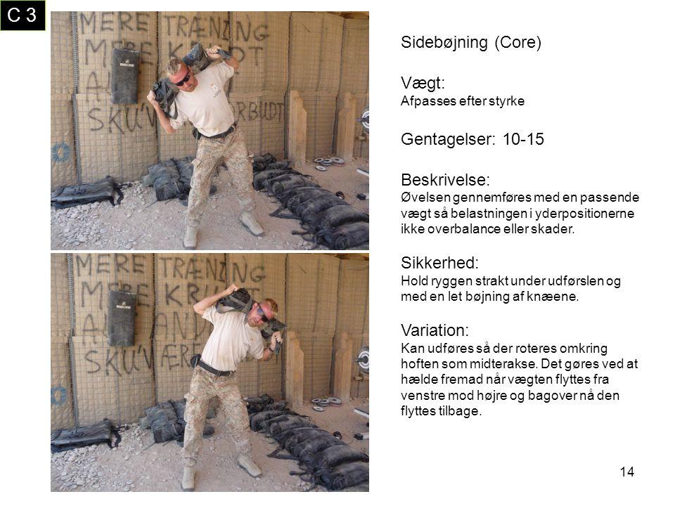 C 3 Sidebøjning (Core) Vægt: Gentagelser: 10-15 Beskrivelse:
