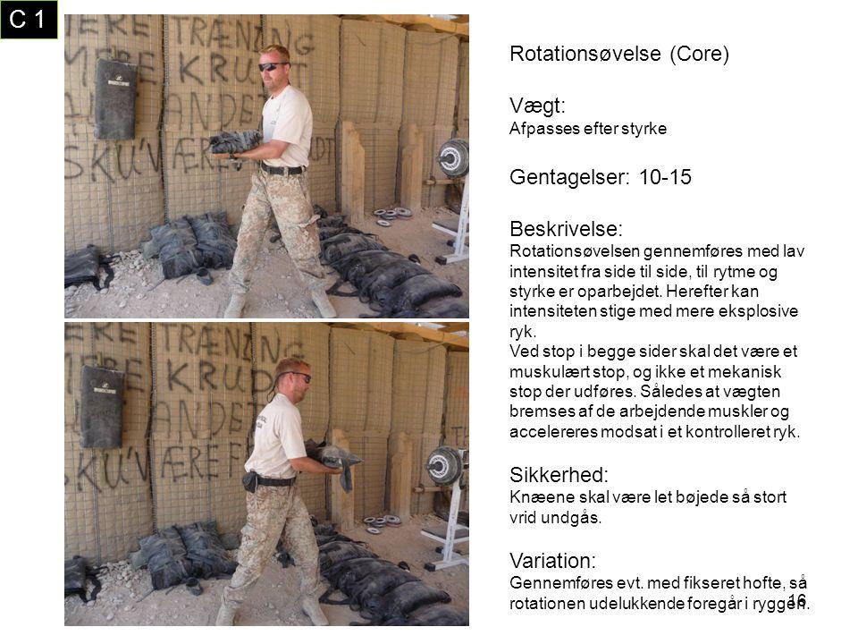 C 1 Rotationsøvelse (Core) Vægt: Gentagelser: 10-15 Beskrivelse: