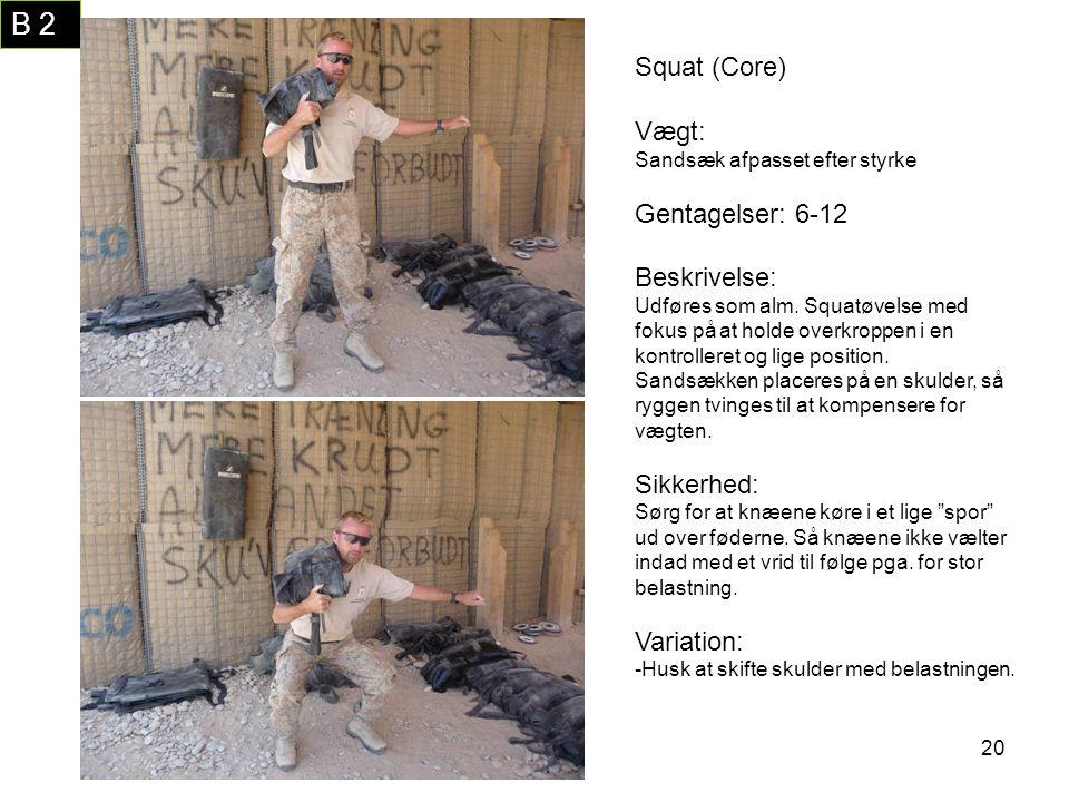 B 2 Squat (Core) Vægt: Gentagelser: 6-12 Beskrivelse: Sikkerhed: