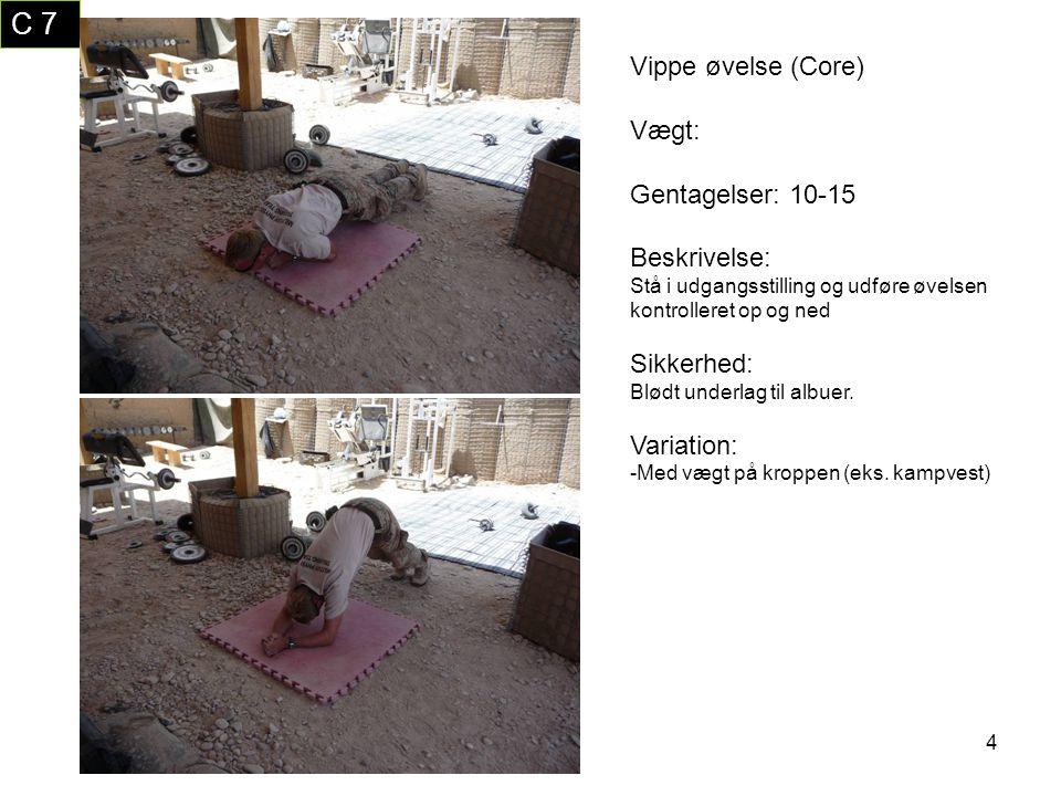 C 7 Vippe øvelse (Core) Vægt: Gentagelser: 10-15 Beskrivelse: