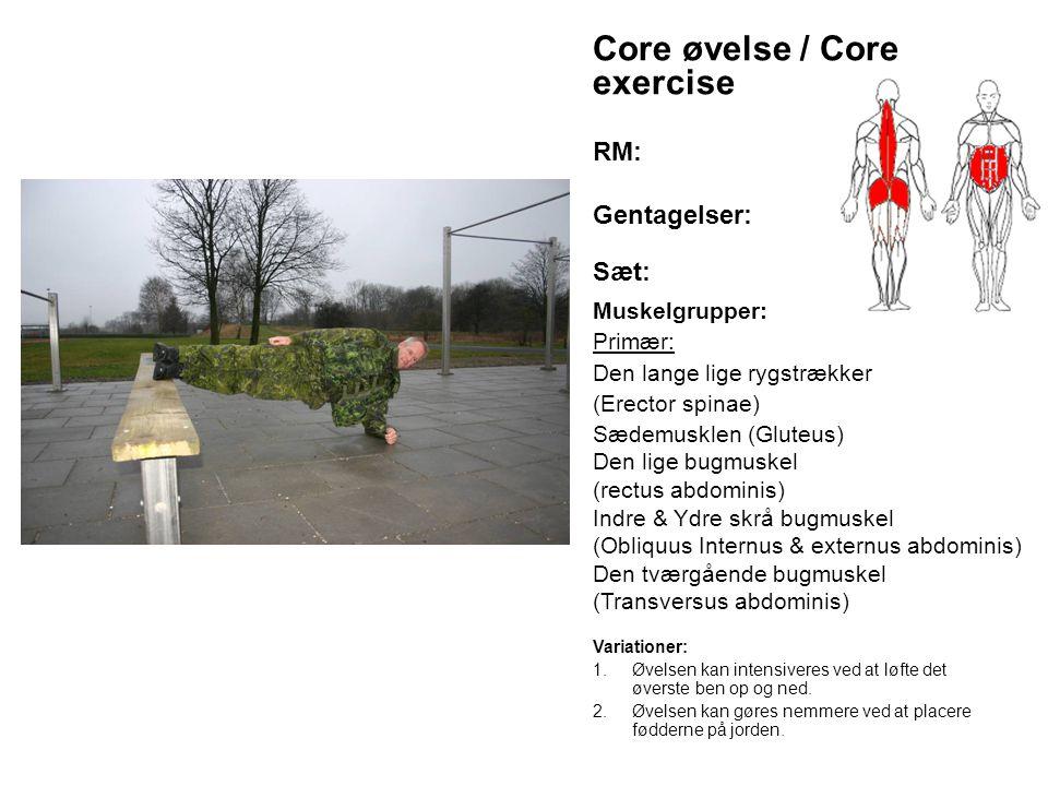Core øvelse / Core exercise RM: Gentagelser: Sæt: