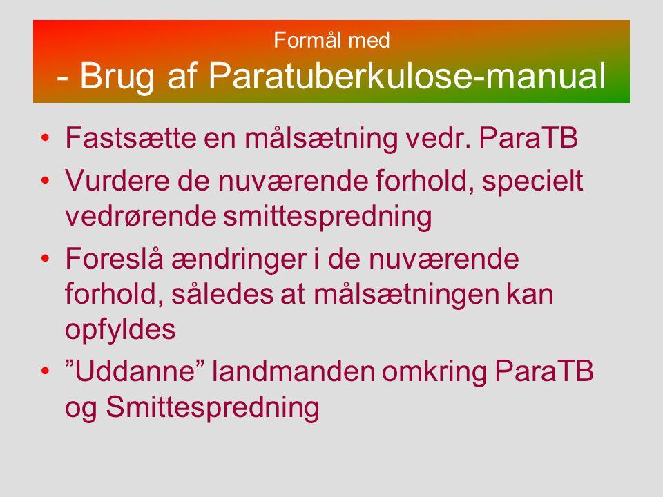 Formål med - Brug af Paratuberkulose-manual