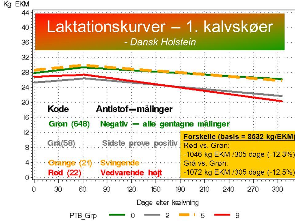 Laktationskurver – 1. kalvskøer - Dansk Holstein