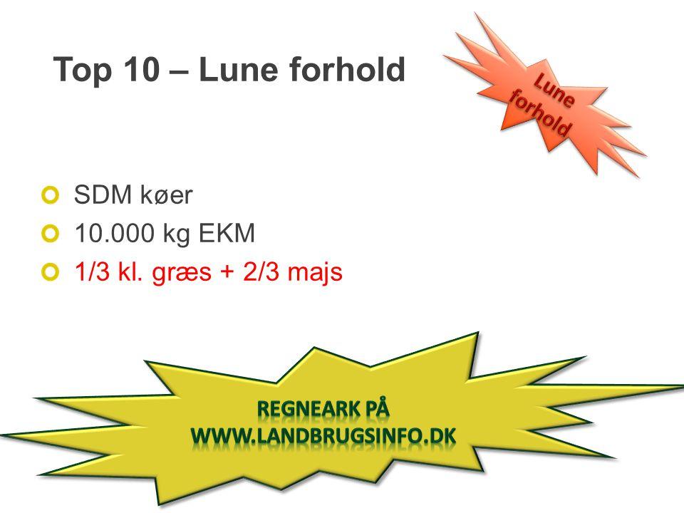 Top 10 – Lune forhold SDM køer 10.000 kg EKM 1/3 kl. græs + 2/3 majs