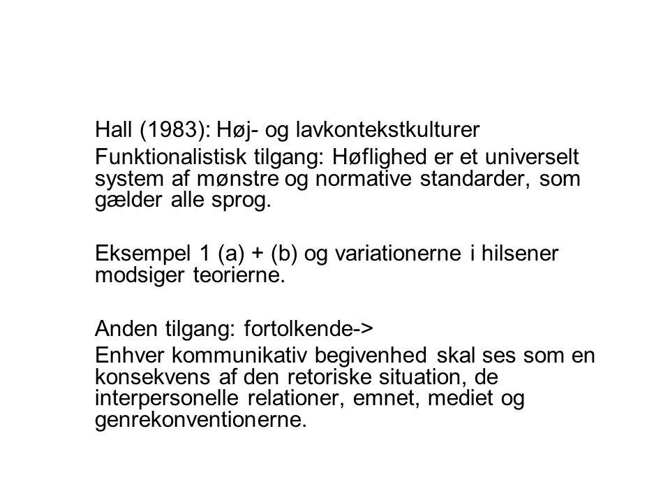 Hall (1983): Høj- og lavkontekstkulturer