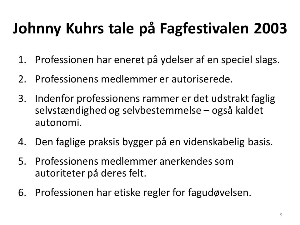 Johnny Kuhrs tale på Fagfestivalen 2003