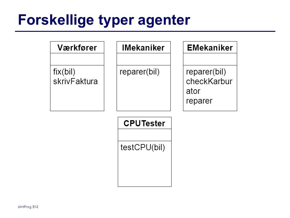 Forskellige typer agenter