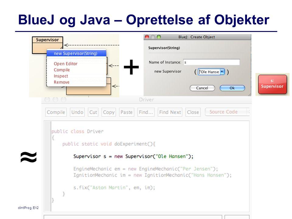 BlueJ og Java – Oprettelse af Objekter