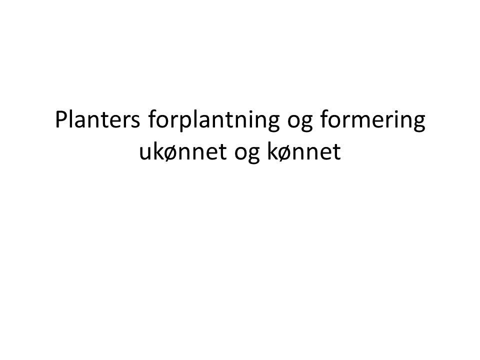 Planters forplantning og formering ukønnet og kønnet