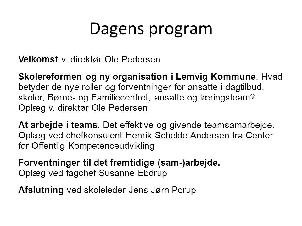 Dagens program Velkomst v. direktør Ole Pedersen