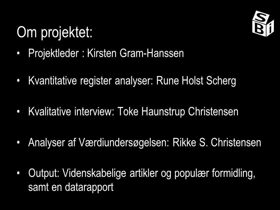 Om projektet: Projektleder : Kirsten Gram-Hanssen