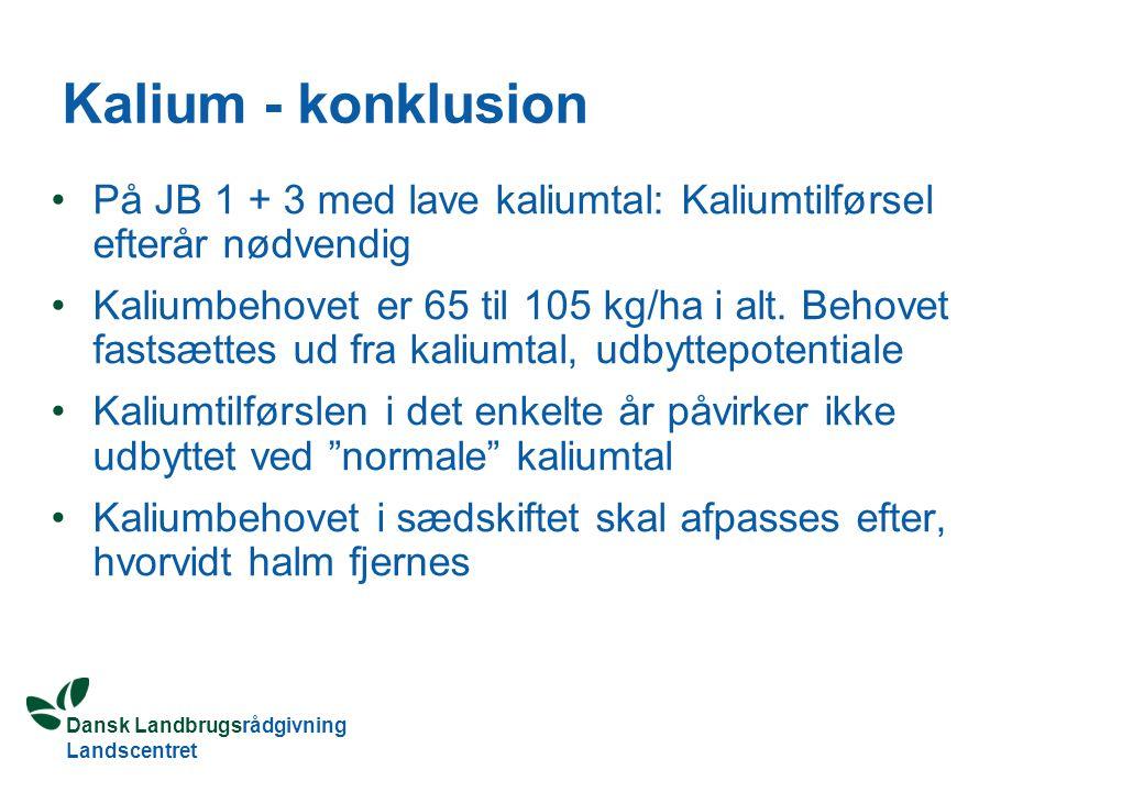 Kalium - konklusion På JB 1 + 3 med lave kaliumtal: Kaliumtilførsel efterår nødvendig.