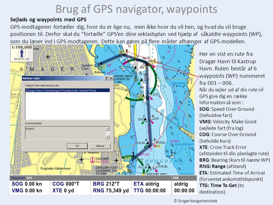 Brug af GPS navigator, waypoints