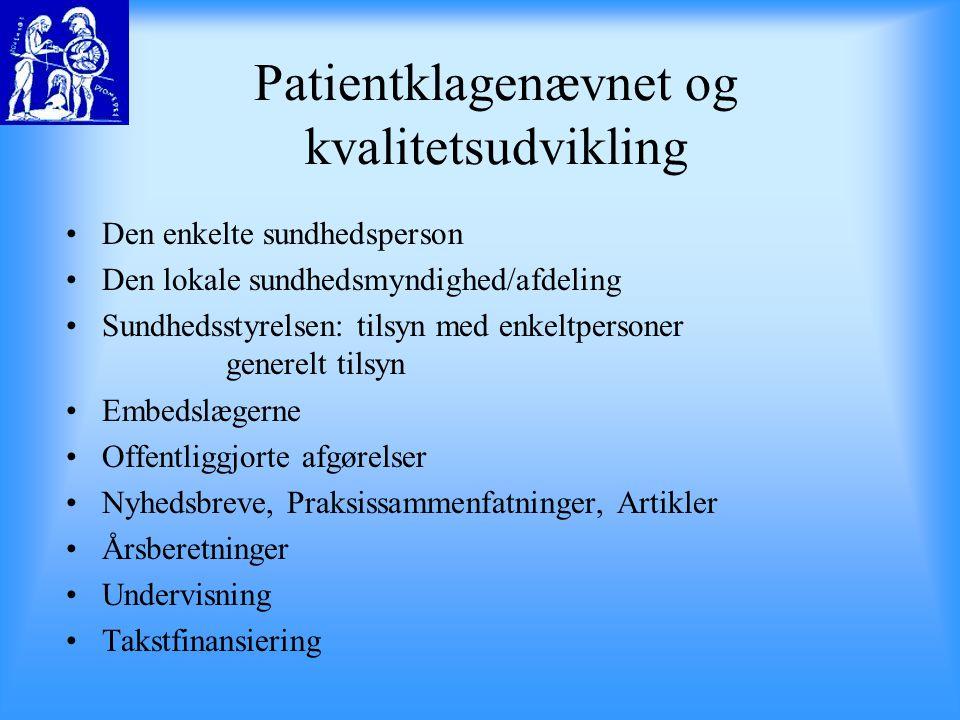 Patientklagenævnet og kvalitetsudvikling