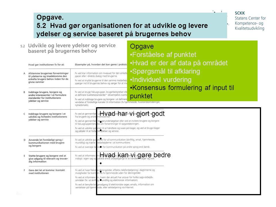 Opgave. 5.2 Hvad gør organisationen for at udvikle og levere ydelser og service baseret på brugernes behov