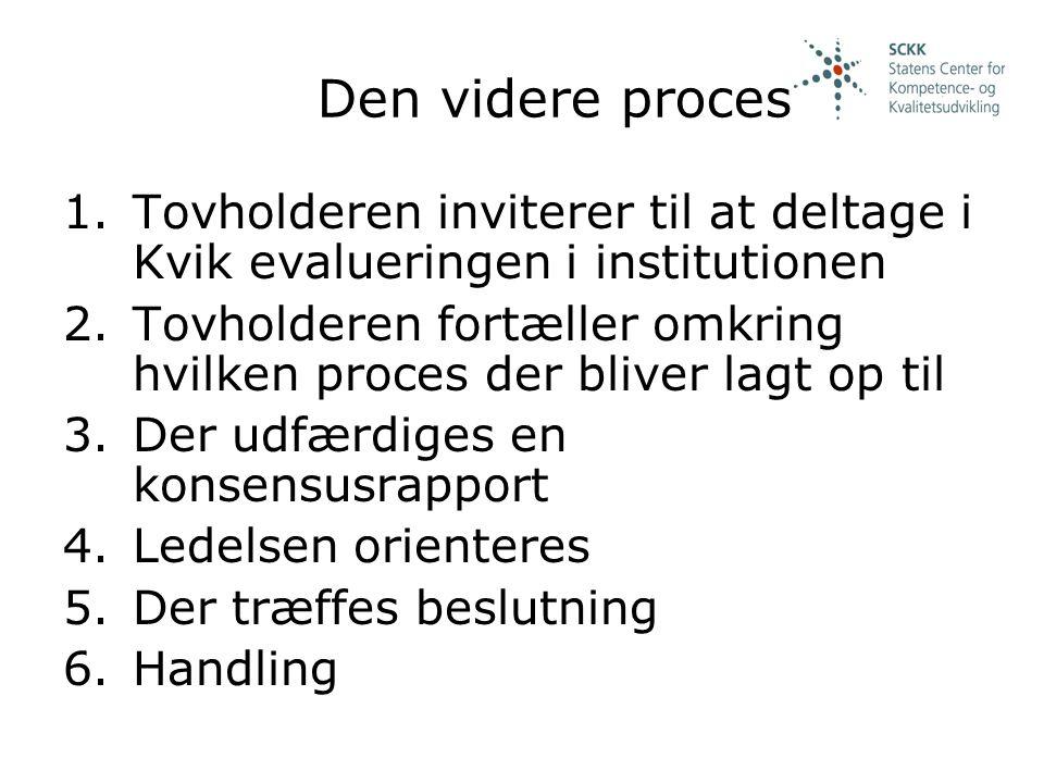 Den videre proces Tovholderen inviterer til at deltage i Kvik evalueringen i institutionen.