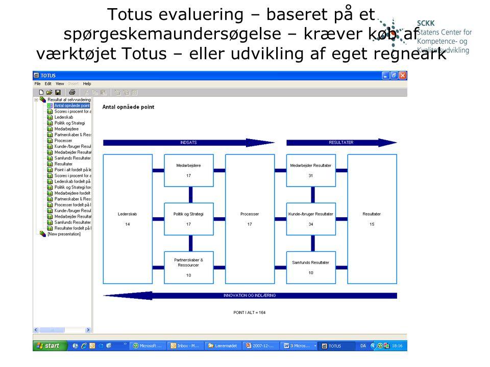 Totus evaluering – baseret på et spørgeskemaundersøgelse – kræver køb af værktøjet Totus – eller udvikling af eget regneark