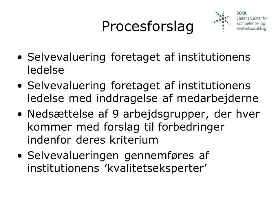 Procesforslag Selvevaluering foretaget af institutionens ledelse