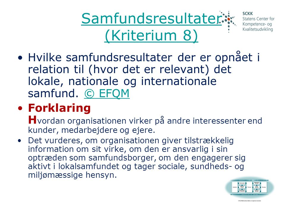 Samfundsresultater (Kriterium 8)