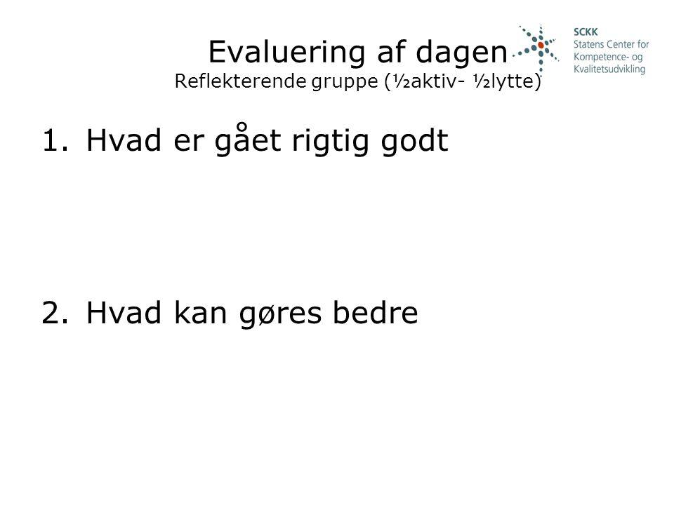 Evaluering af dagen Reflekterende gruppe (½aktiv- ½lytte)