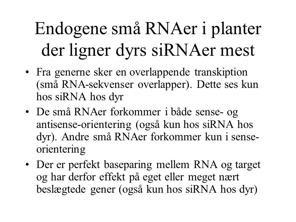 Endogene små RNAer i planter der ligner dyrs siRNAer mest