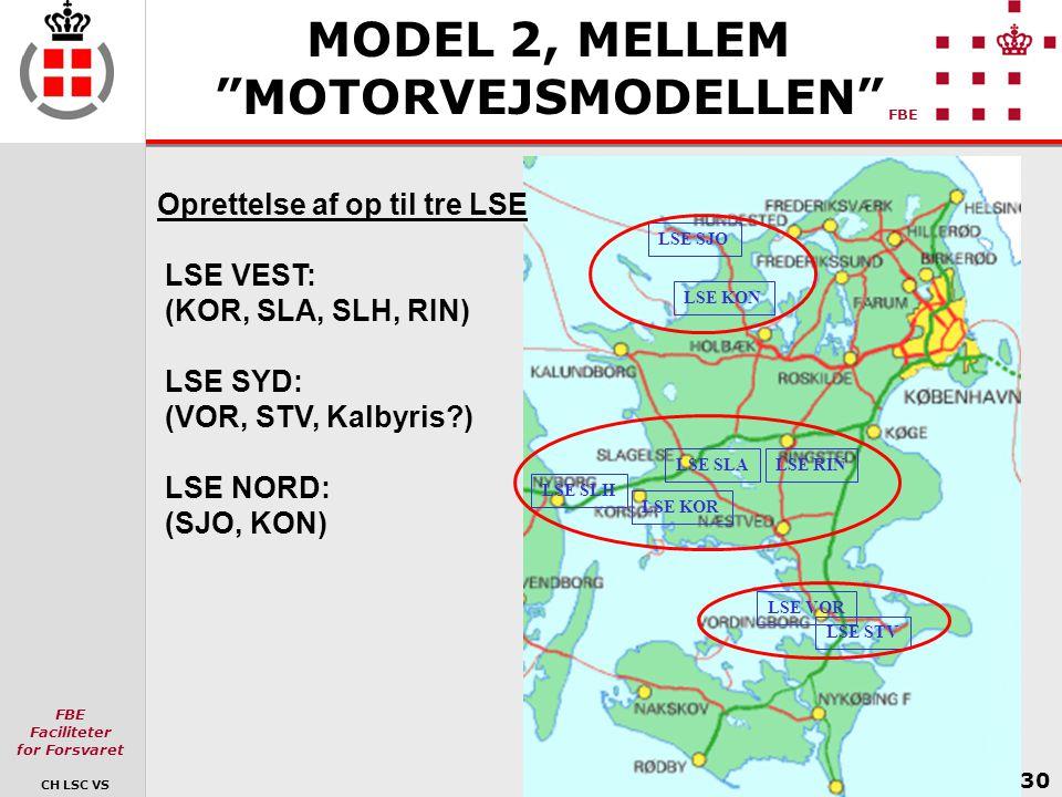 MODEL 2, MELLEM MOTORVEJSMODELLEN