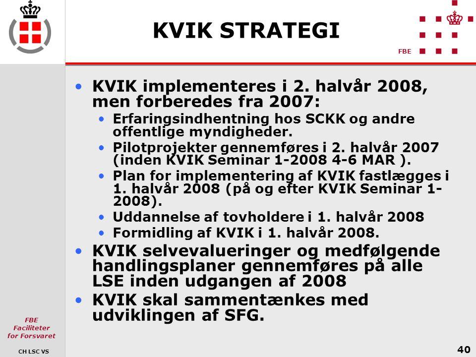 KVIK STRATEGI KVIK implementeres i 2. halvår 2008, men forberedes fra 2007: Erfaringsindhentning hos SCKK og andre offentlige myndigheder.