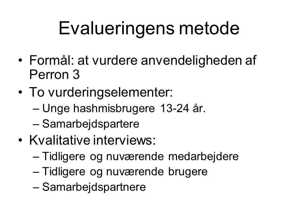 Evalueringens metode Formål: at vurdere anvendeligheden af Perron 3