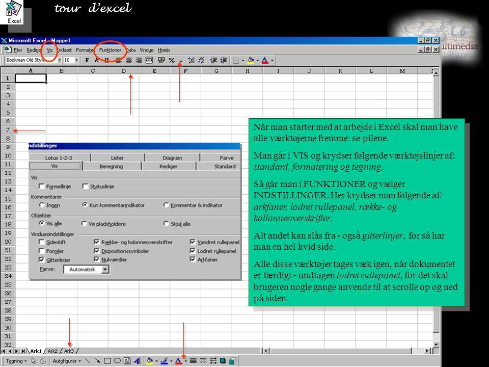 tour d'excel Når man starter med at arbejde i Excel skal man have alle værktøjerne fremme: se pilene.