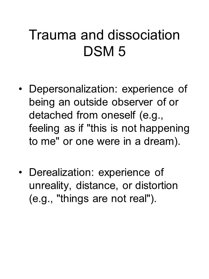 Trauma and dissociation DSM 5