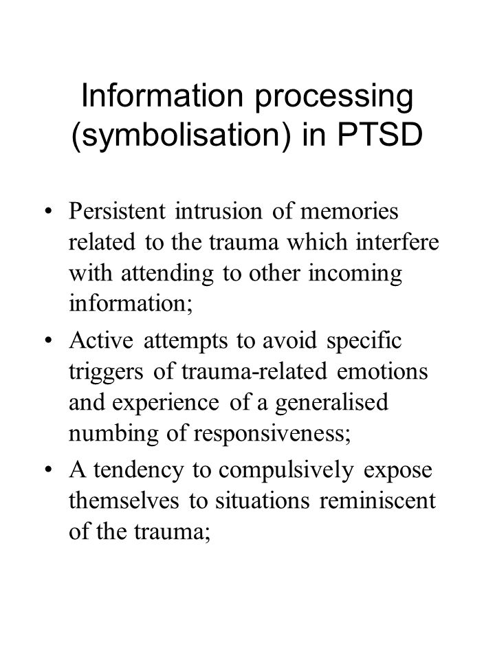 Information processing (symbolisation) in PTSD