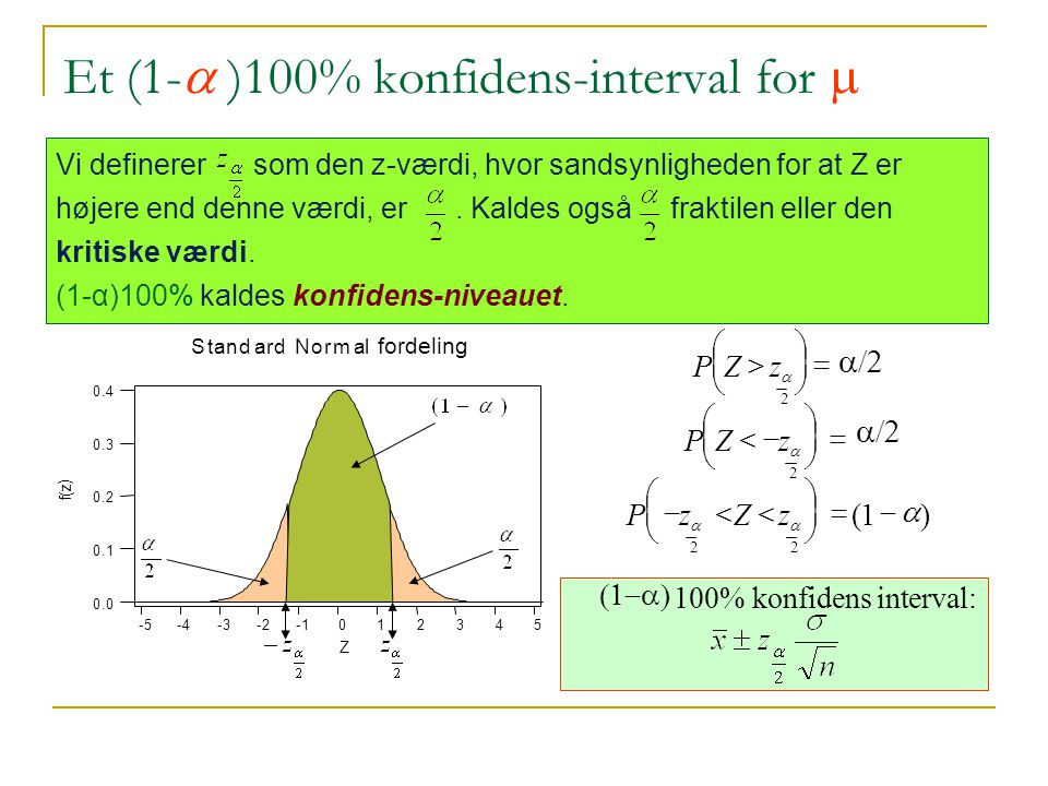 Et (1-a )100% konfidens-interval for m