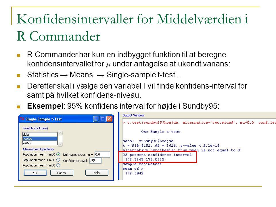 Konfidensintervaller for Middelværdien i R Commander