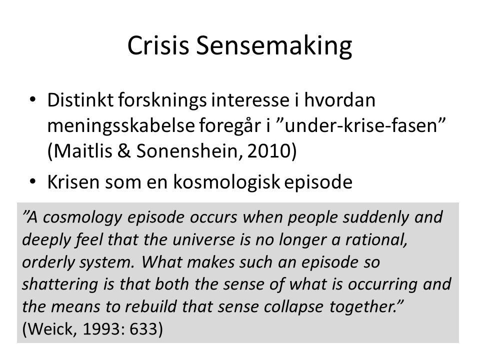 Crisis Sensemaking Distinkt forsknings interesse i hvordan meningsskabelse foregår i under-krise-fasen (Maitlis & Sonenshein, 2010)