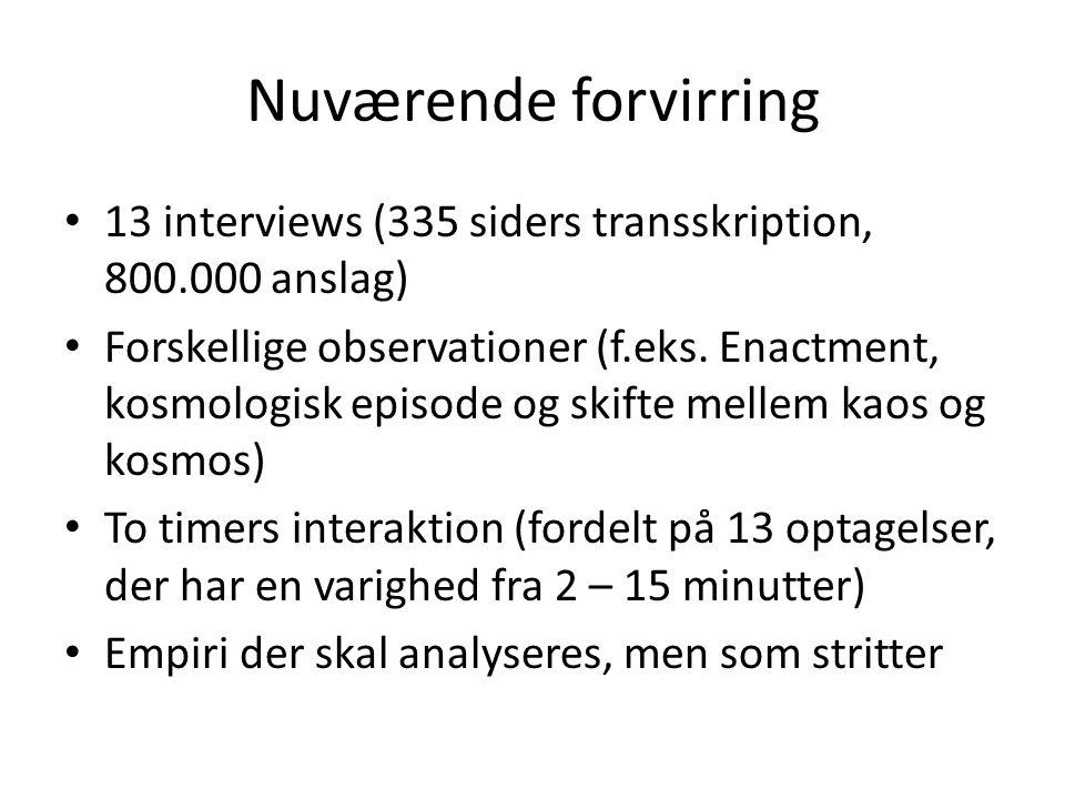 Nuværende forvirring 13 interviews (335 siders transskription, 800.000 anslag)