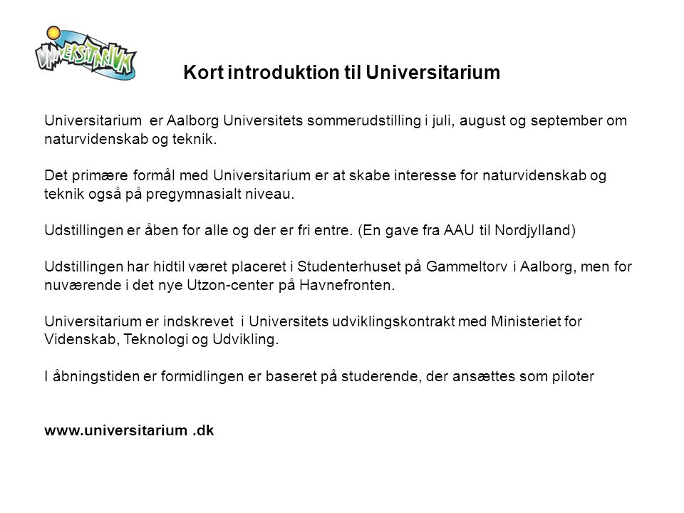 Kort introduktion til Universitarium