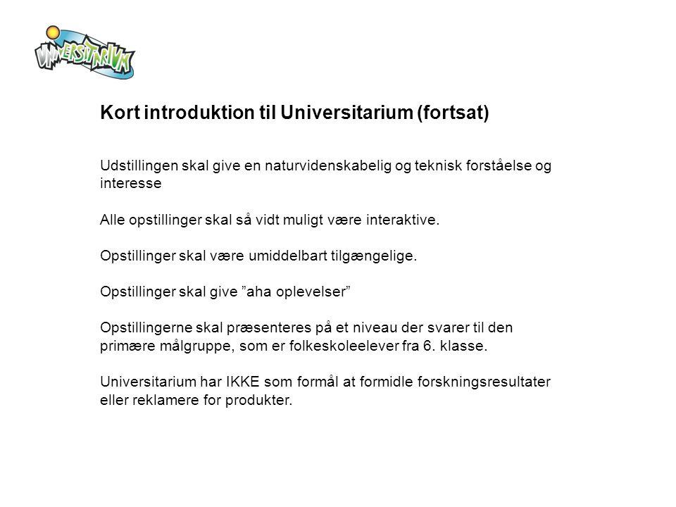 Kort introduktion til Universitarium (fortsat)