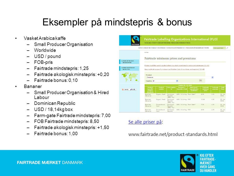 Eksempler på mindstepris & bonus