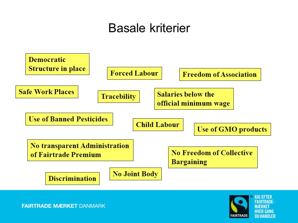 Basale kriterier Democratic Structure in place Forced Labour