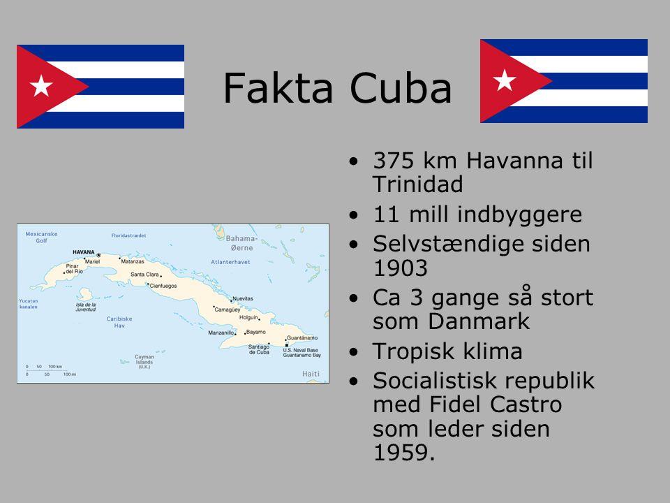 Fakta Cuba 375 km Havanna til Trinidad 11 mill indbyggere