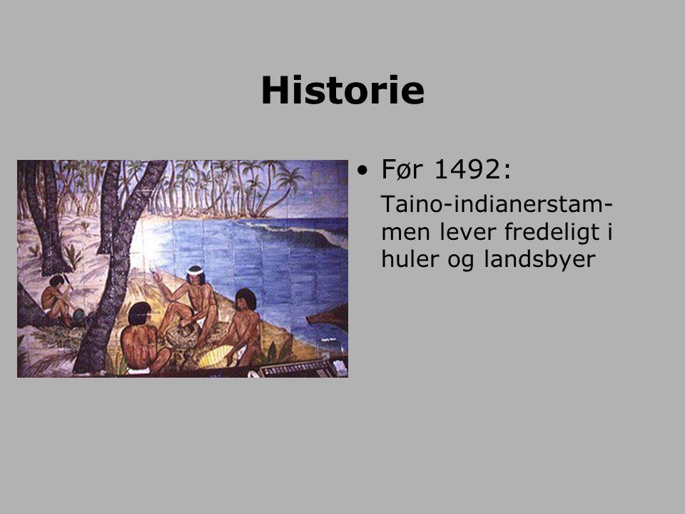 Historie Før 1492: Taino-indianerstam-men lever fredeligt i huler og landsbyer