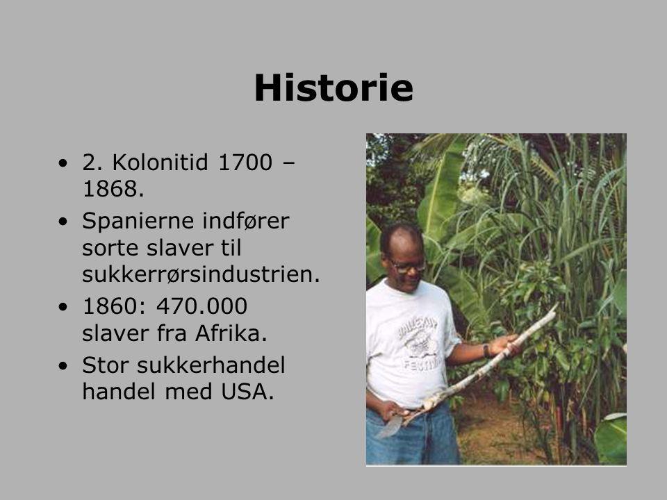 Historie 2. Kolonitid 1700 – 1868. Spanierne indfører sorte slaver til sukkerrørsindustrien. 1860: 470.000 slaver fra Afrika.